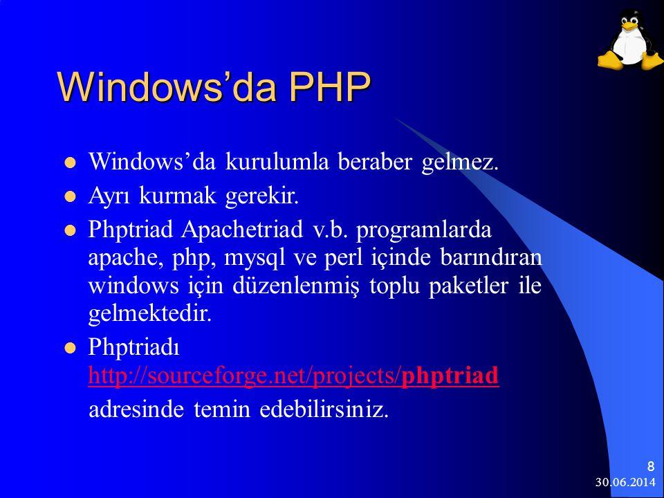 Windows'da PHP Windows'da kurulumla beraber gelmez.