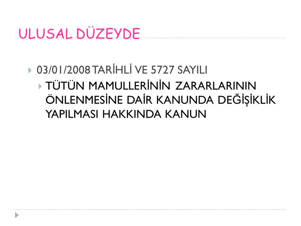 ULUSAL DÜZEYDE 03/01/2008 TARİHLİ VE 5727 SAYILI
