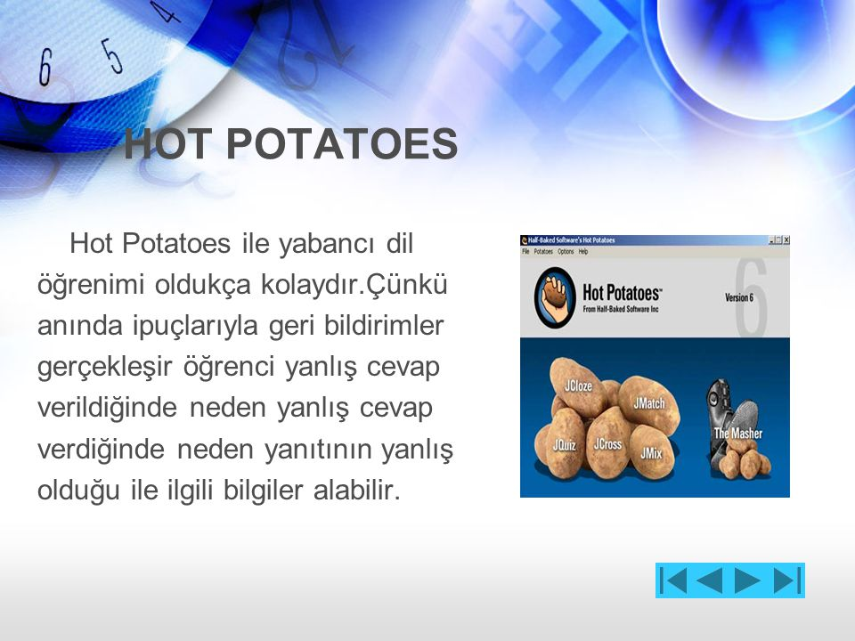 HOT POTATOES Hot Potatoes ile yabancı dil