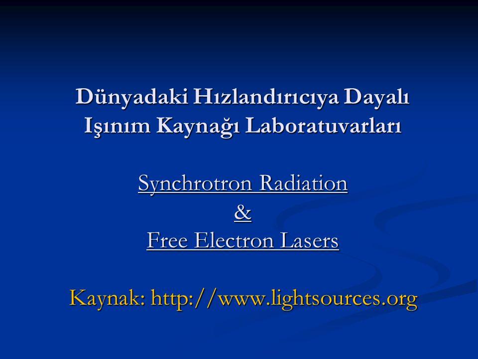 Dünyadaki Hızlandırıcıya Dayalı Işınım Kaynağı Laboratuvarları Synchrotron Radiation & Free Electron Lasers Kaynak: http://www.lightsources.org