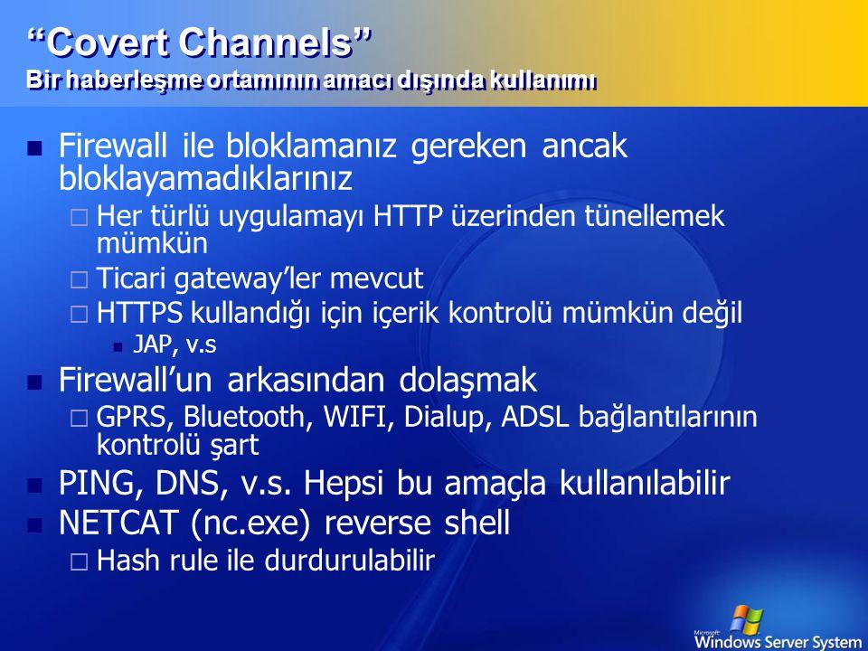Covert Channels Bir haberleşme ortamının amacı dışında kullanımı