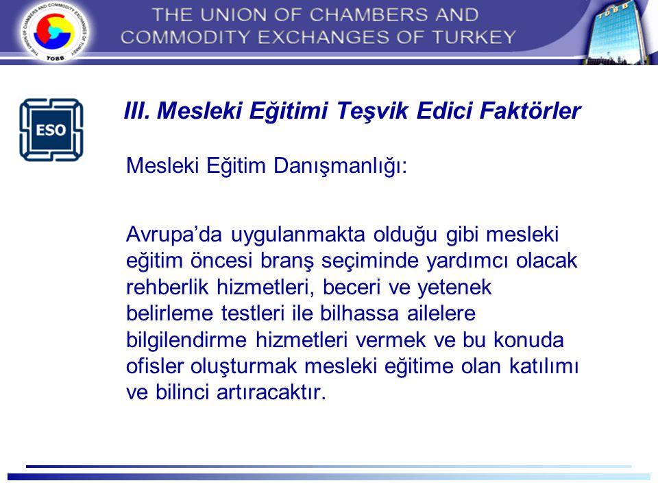 III. Mesleki Eğitimi Teşvik Edici Faktörler