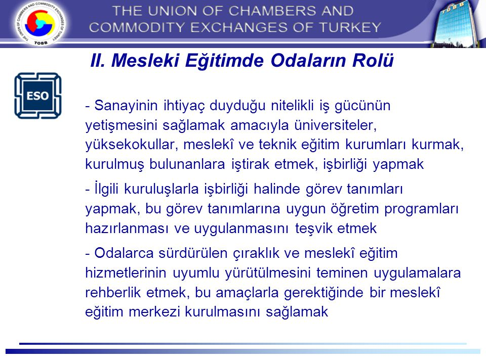 II. Mesleki Eğitimde Odaların Rolü
