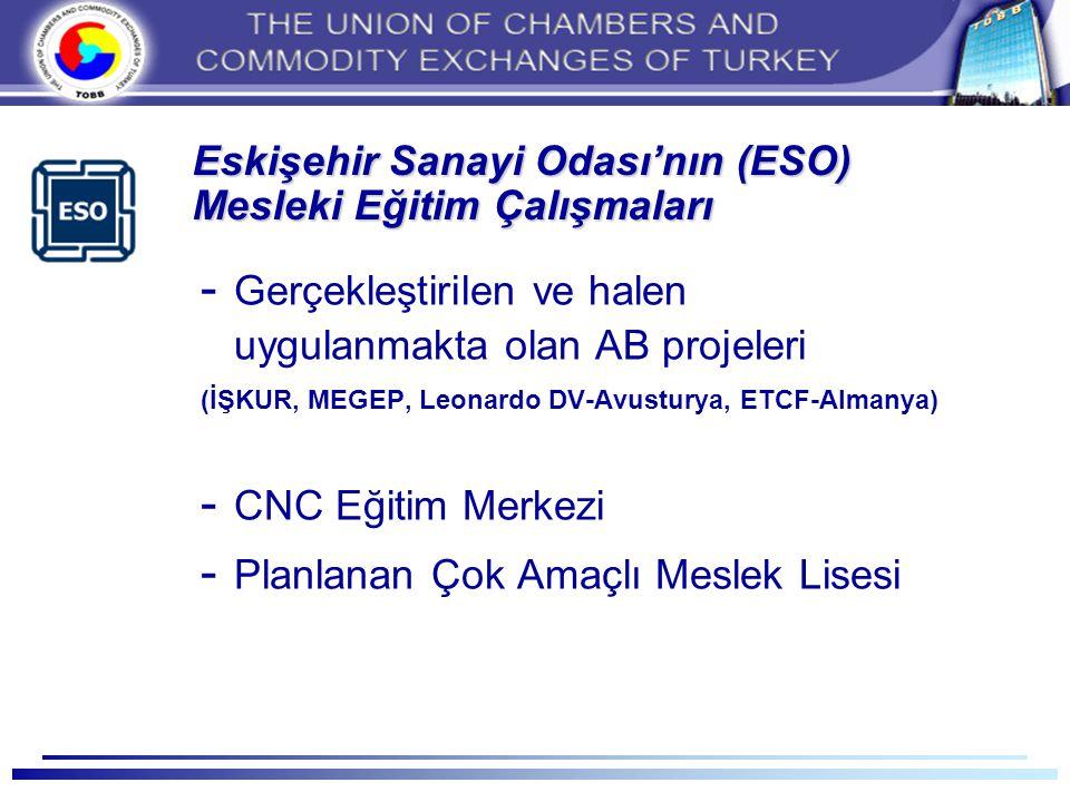 Eskişehir Sanayi Odası'nın (ESO) Mesleki Eğitim Çalışmaları