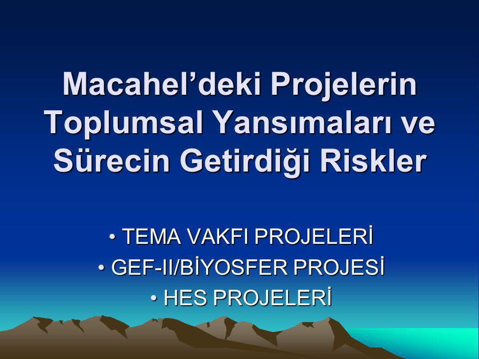 TEMA VAKFI PROJELERİ GEF-II/BİYOSFER PROJESİ HES PROJELERİ