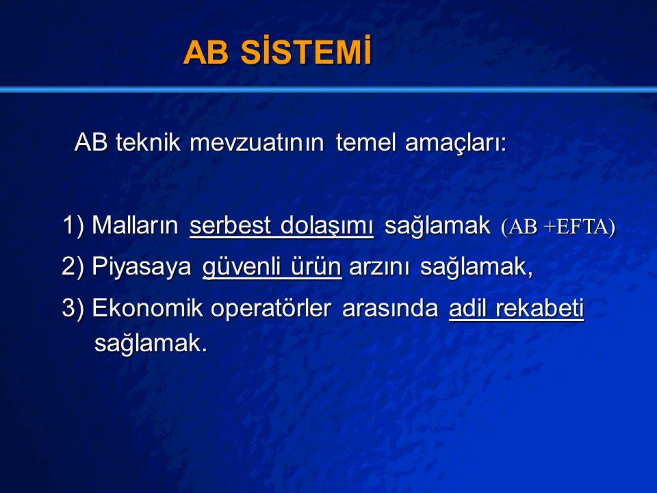 AB SİSTEMİ AB teknik mevzuatının temel amaçları: