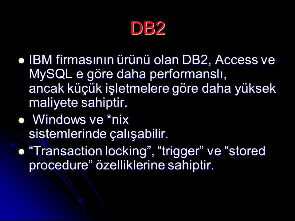 DB2 IBM firmasının ürünü olan DB2, Access ve MySQL e göre daha performanslı, ancak küçük işletmelere göre daha yüksek maliyete sahiptir.