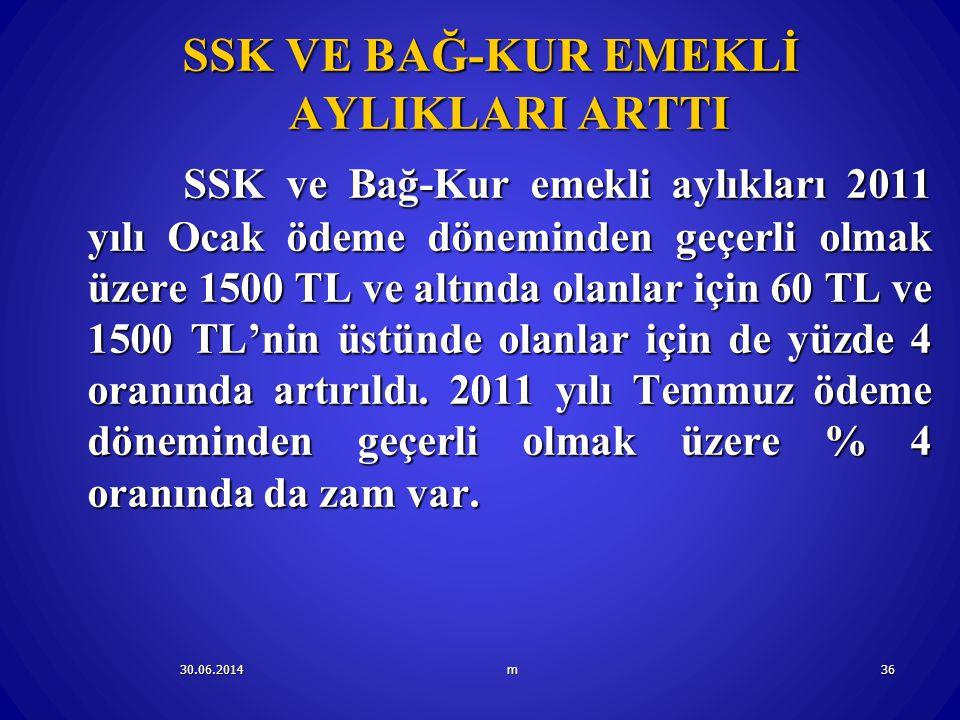 SSK VE BAĞ-KUR EMEKLİ AYLIKLARI ARTTI