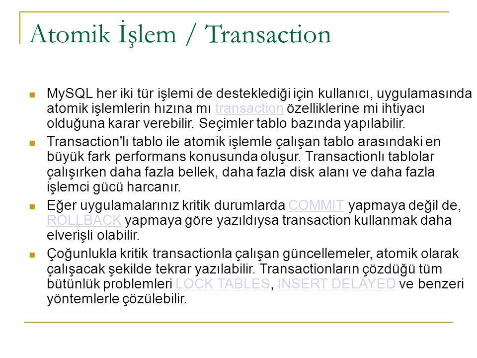 Atomik İşlem / Transaction