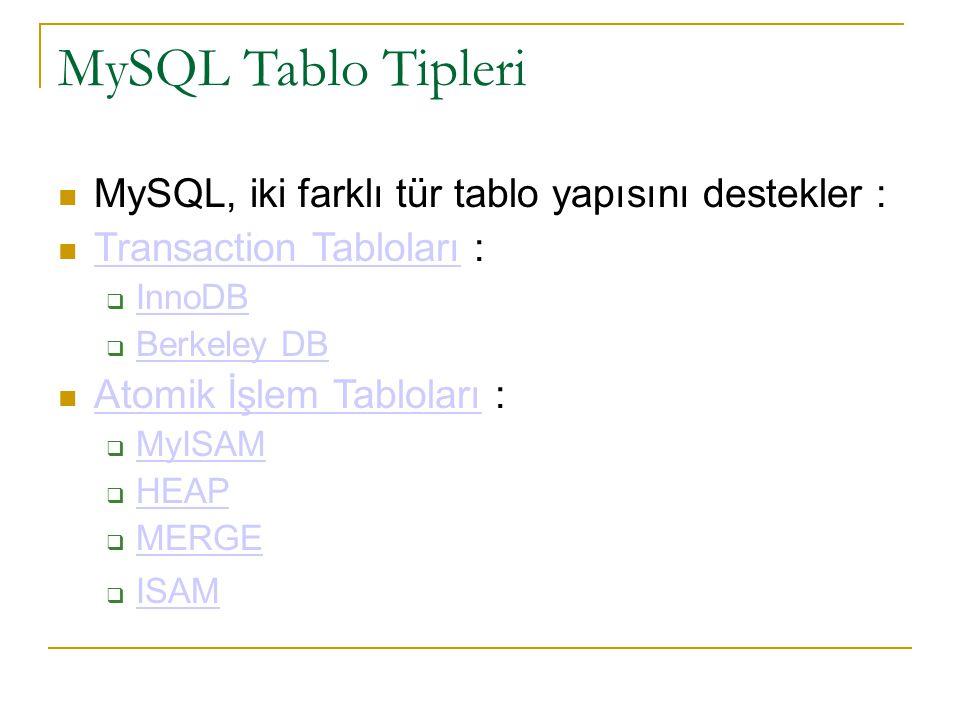 MySQL Tablo Tipleri MySQL, iki farklı tür tablo yapısını destekler :