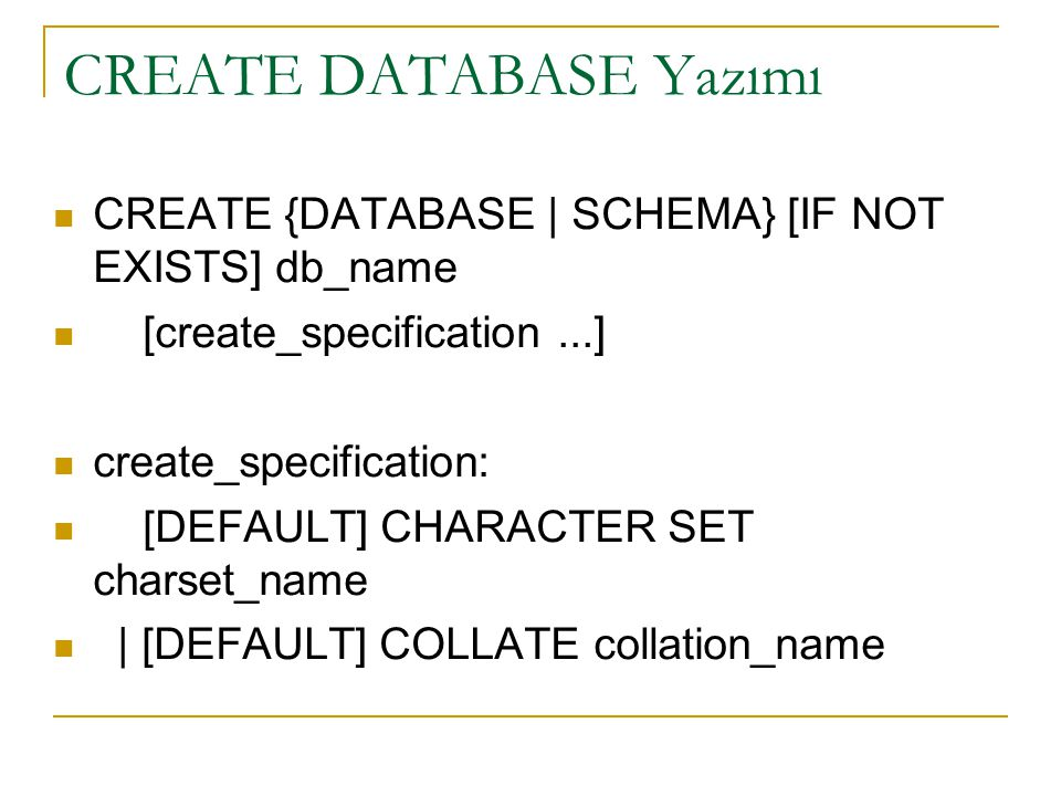 CREATE DATABASE Yazımı