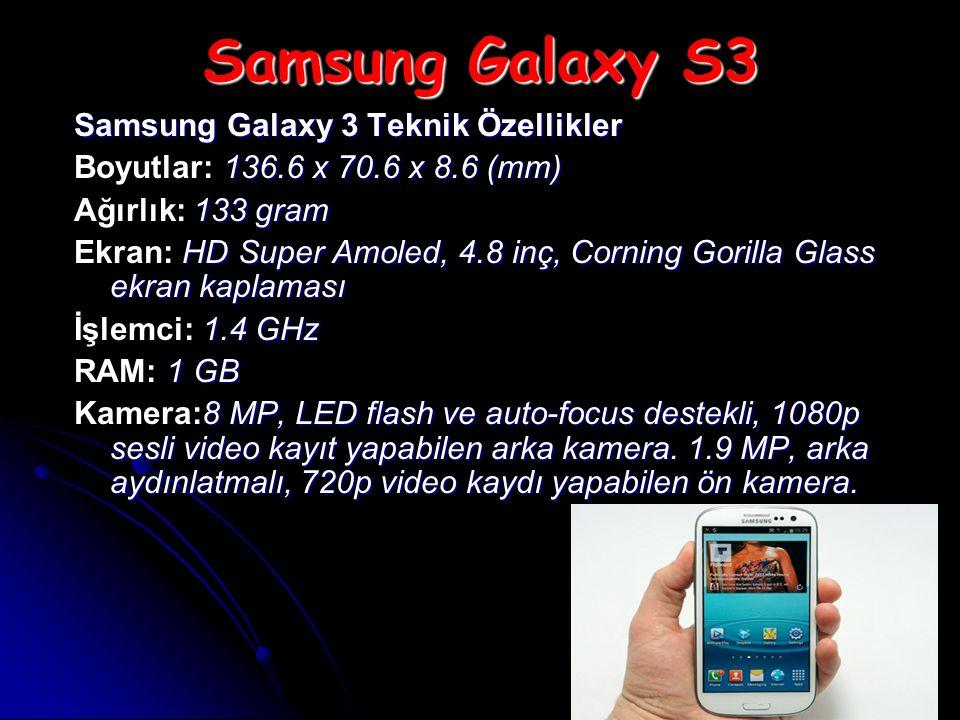 Samsung Galaxy S3 Samsung Galaxy 3 Teknik Özellikler