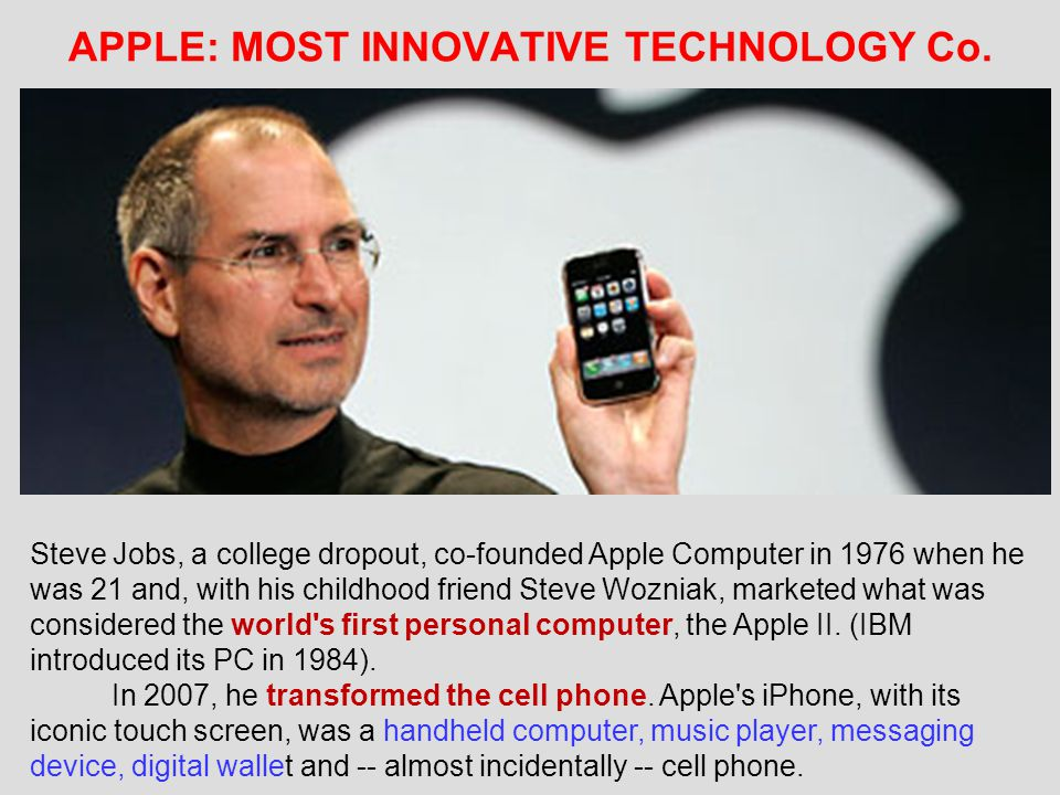APPLE: MOST INNOVATIVE TECHNOLOGY Co.