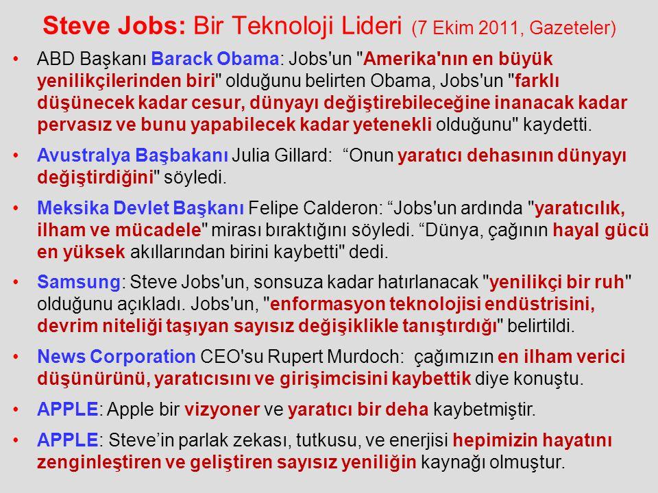 Steve Jobs: Bir Teknoloji Lideri (7 Ekim 2011, Gazeteler)