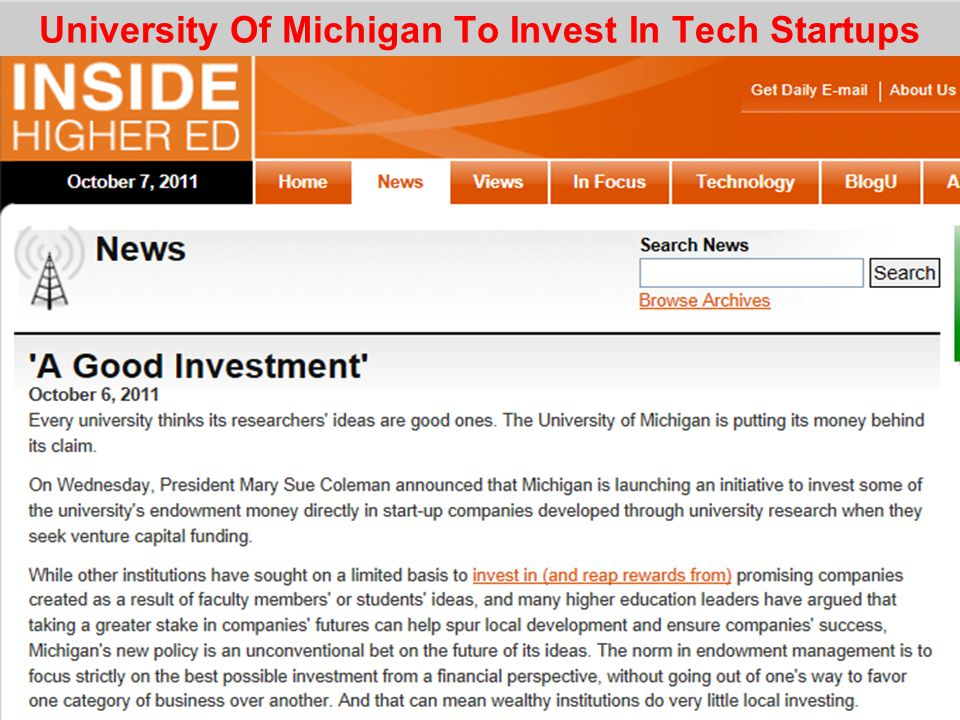 University Of Michigan To Invest In Tech Startups