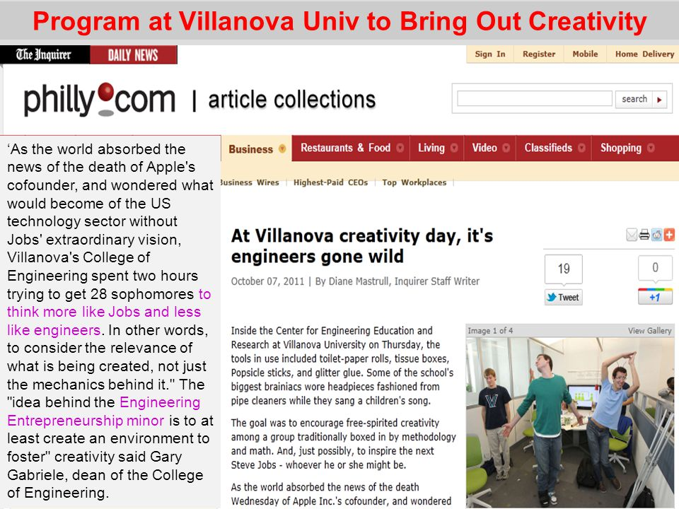 Program at Villanova Univ to Bring Out Creativity