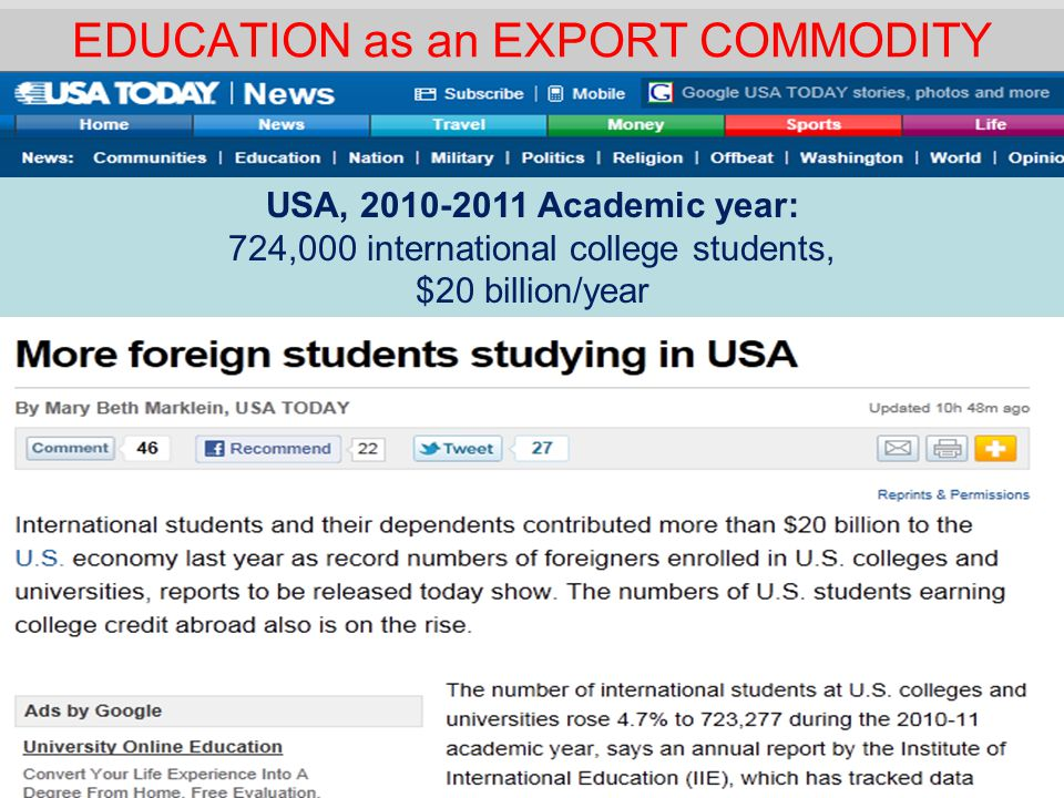 EDUCATION as an EXPORT COMMODITY