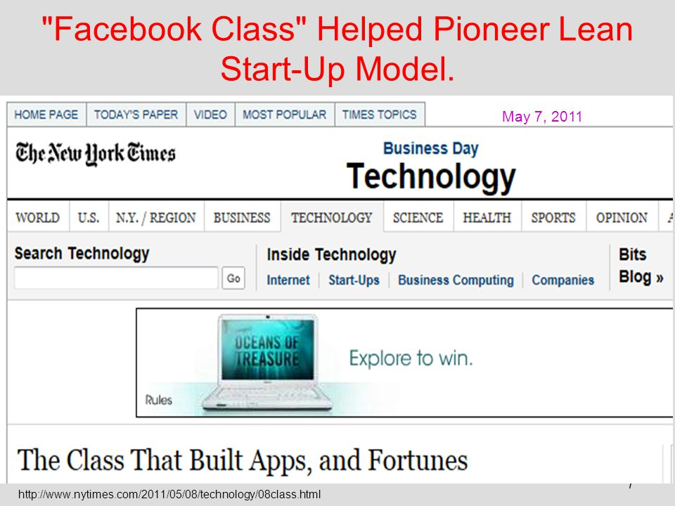 Facebook Class Helped Pioneer Lean Start-Up Model.