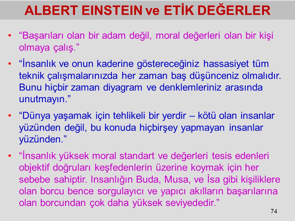 ALBERT EINSTEIN ve ETİK DEĞERLER
