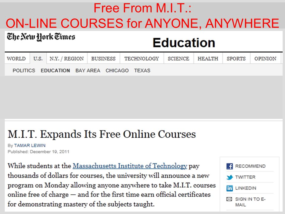 Free From M.I.T.: ON-LINE COURSES for ANYONE, ANYWHERE