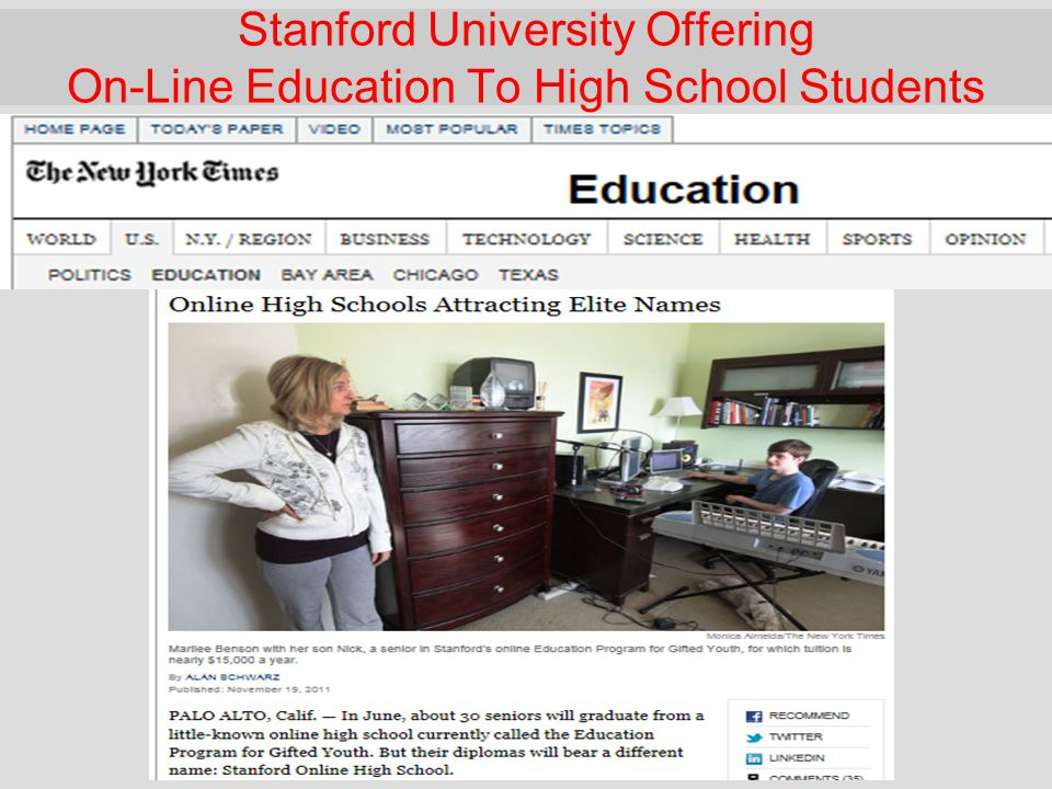 Stanford University Offering On-Line Education To High School Students