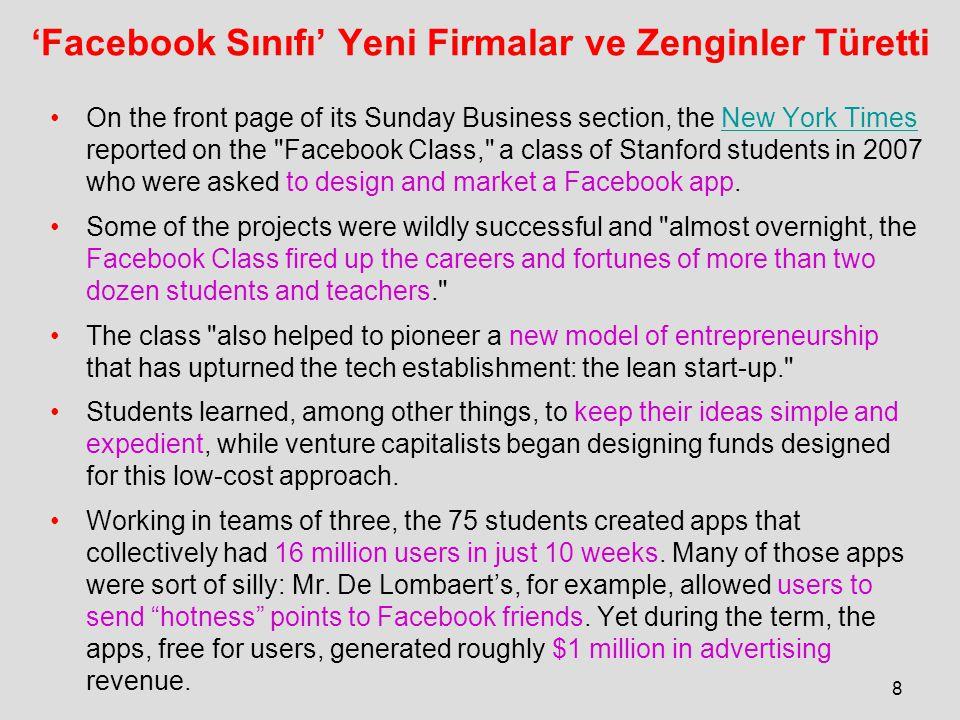 'Facebook Sınıfı' Yeni Firmalar ve Zenginler Türetti