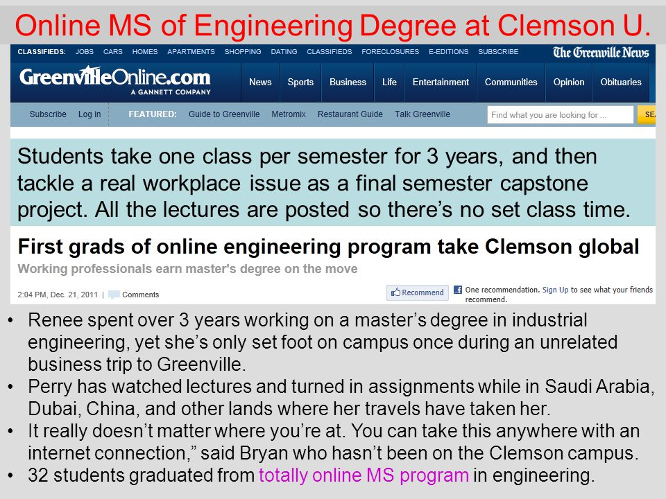 Online MS of Engineering Degree at Clemson U.