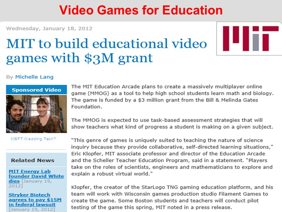 Video Games for Education
