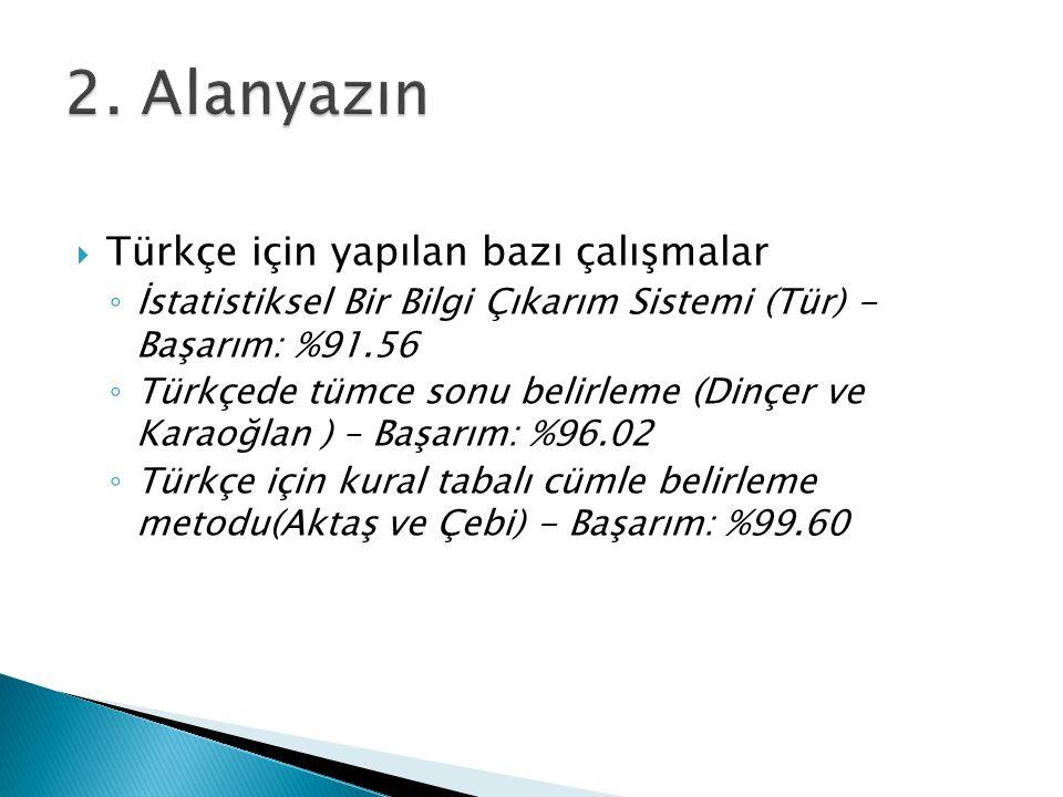 2. Alanyazın Türkçe için yapılan bazı çalışmalar