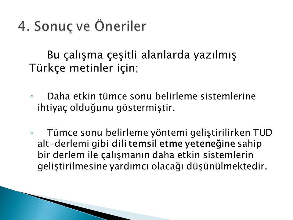 4. Sonuç ve Öneriler Bu çalışma çeşitli alanlarda yazılmış Türkçe metinler için;