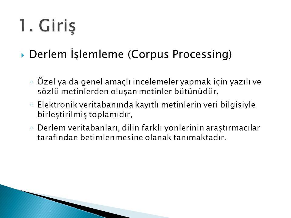 1. Giriş Derlem İşlemleme (Corpus Processing)