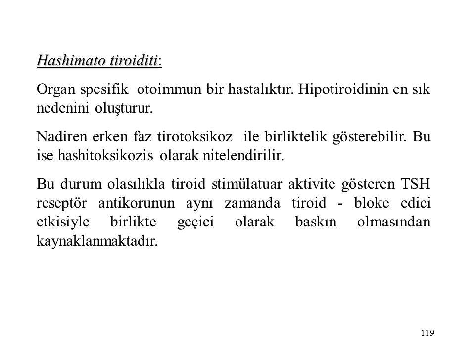 Hashimato tiroiditi: Organ spesifik otoimmun bir hastalıktır. Hipotiroidinin en sık nedenini oluşturur.