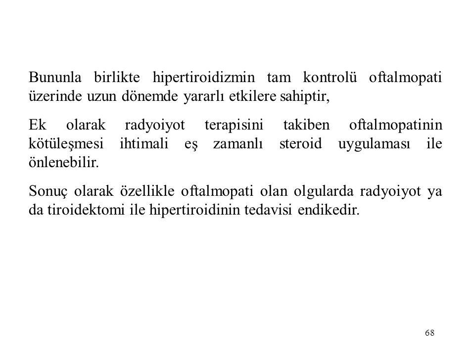 Bununla birlikte hipertiroidizmin tam kontrolü oftalmopati üzerinde uzun dönemde yararlı etkilere sahiptir,