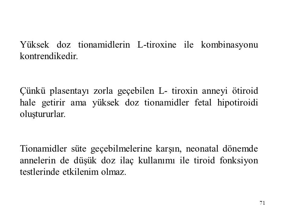Yüksek doz tionamidlerin L-tiroxine ile kombinasyonu kontrendikedir.