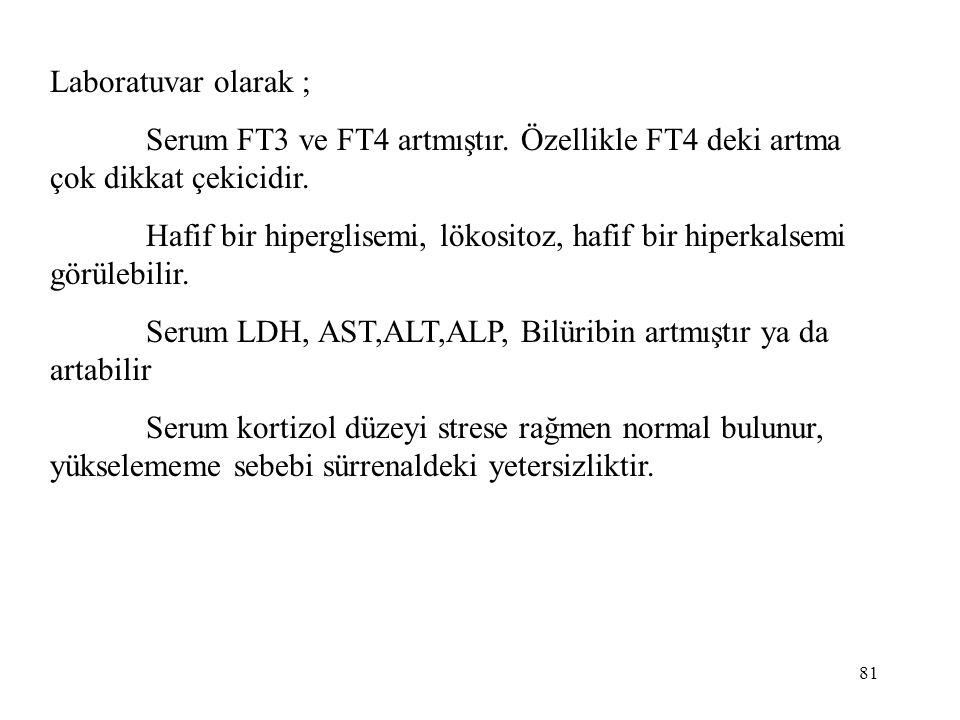 Laboratuvar olarak ; Serum FT3 ve FT4 artmıştır. Özellikle FT4 deki artma çok dikkat çekicidir.