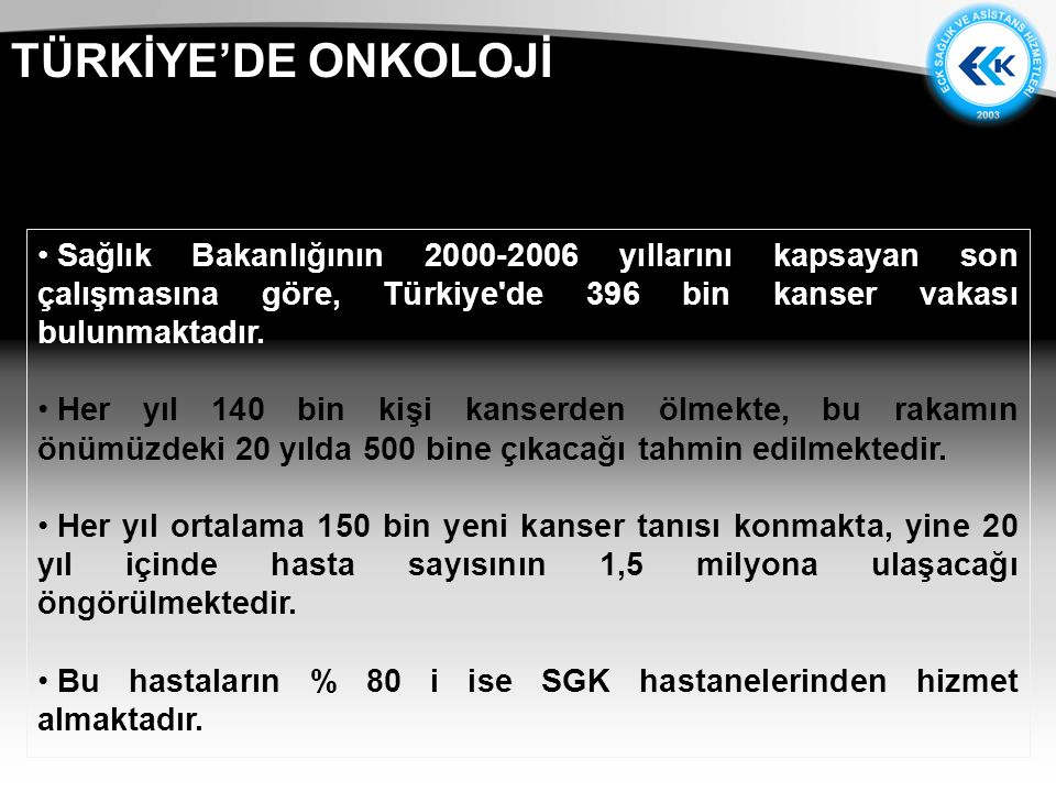 TÜRKİYE'DE ONKOLOJİ Sağlık Bakanlığının 2000-2006 yıllarını kapsayan son çalışmasına göre, Türkiye de 396 bin kanser vakası bulunmaktadır.