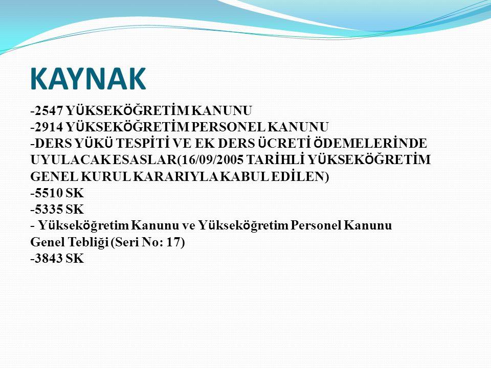 KAYNAK -2547 YÜKSEKÖĞRETİM KANUNU -2914 YÜKSEKÖĞRETİM PERSONEL KANUNU
