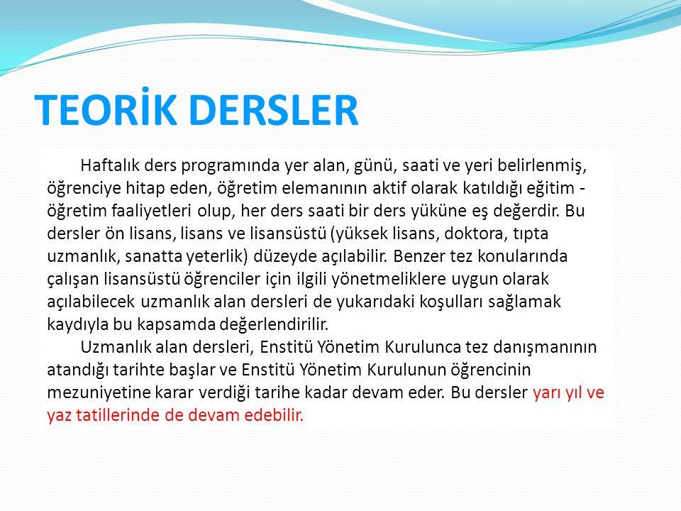TEORİK DERSLER