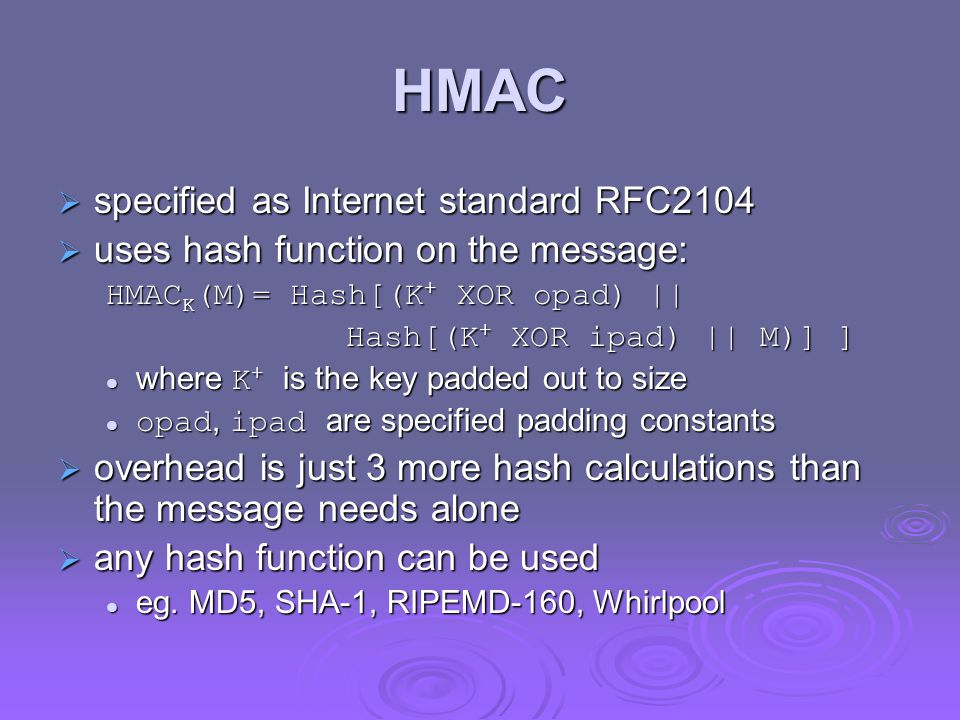 HMAC specified as Internet standard RFC2104