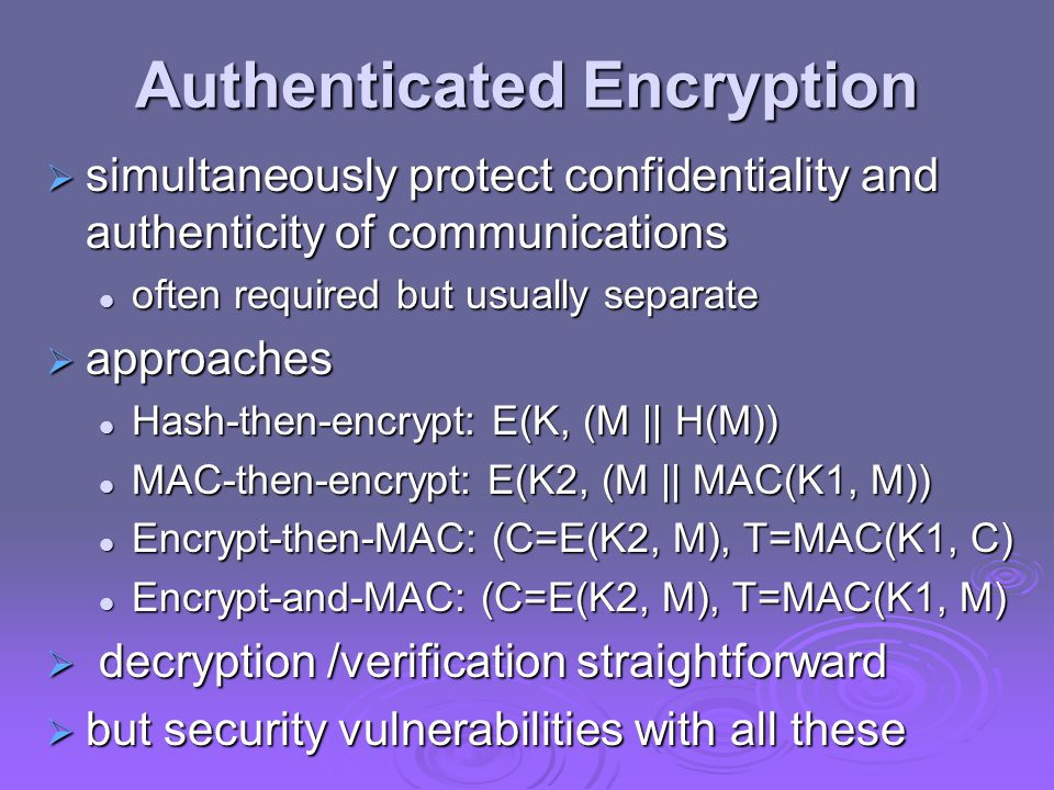 Authenticated Encryption