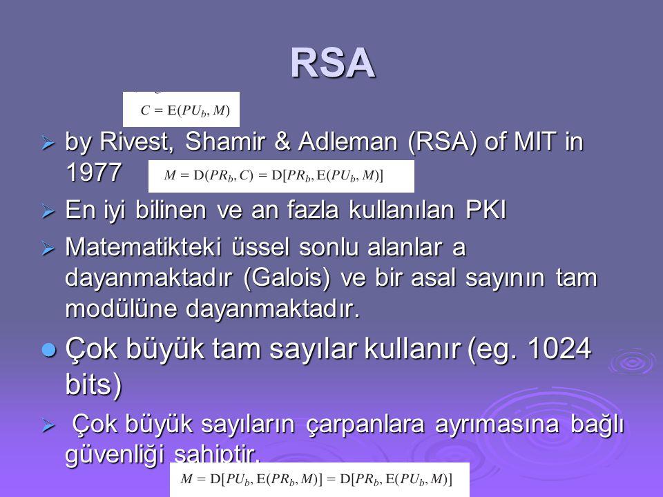 RSA Çok büyük tam sayılar kullanır (eg. 1024 bits)