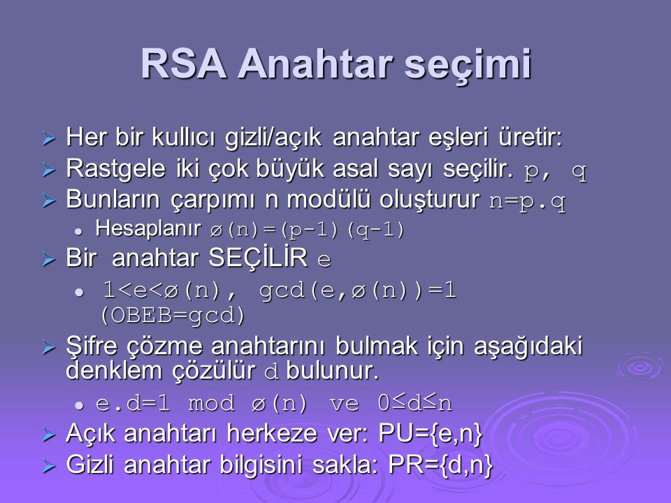 RSA Anahtar seçimi Her bir kullıcı gizli/açık anahtar eşleri üretir: