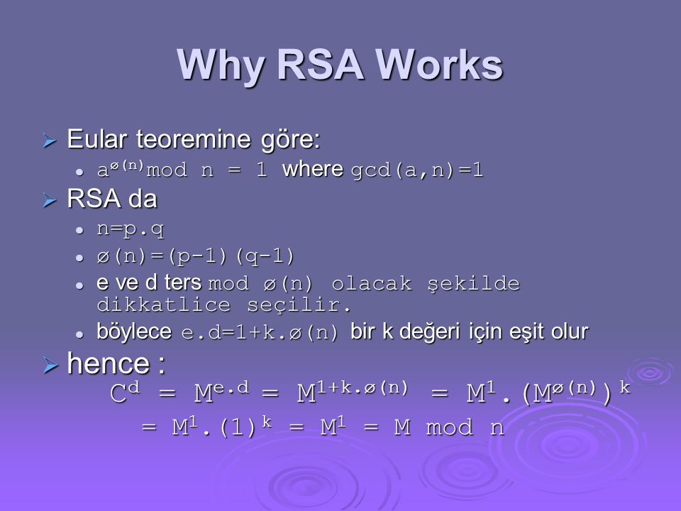Why RSA Works hence : Cd = Me.d = M1+k.ø(n) = M1.(Mø(n))k
