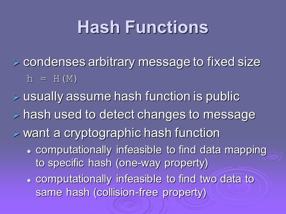 Hash Functions condenses arbitrary message to fixed size