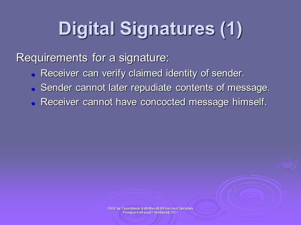 Digital Signatures (1) Requirements for a signature: