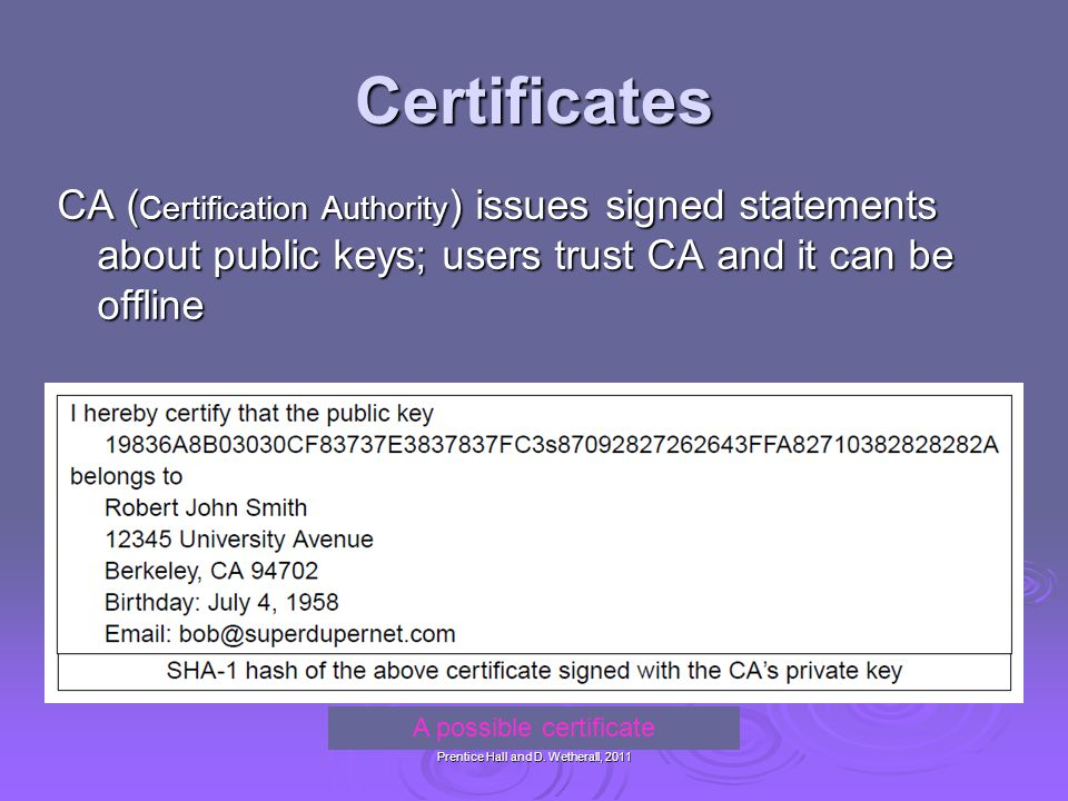 A possible certificate