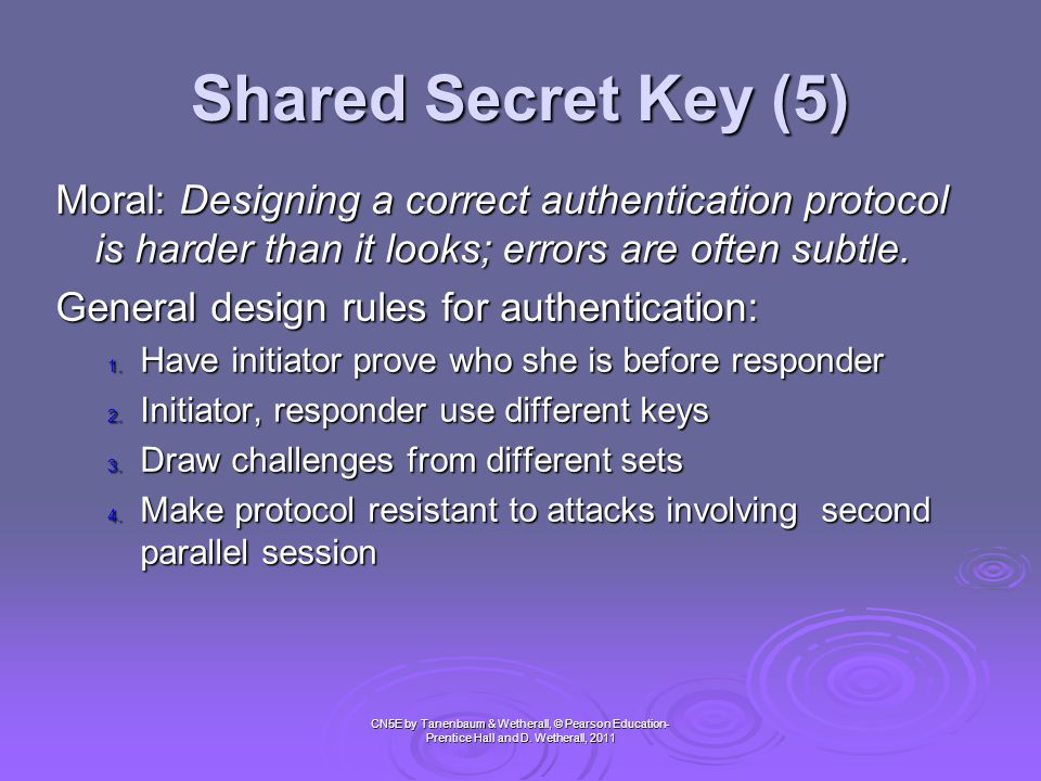 Shared Secret Key (5) Moral: Designing a correct authentication protocol is harder than it looks; errors are often subtle.