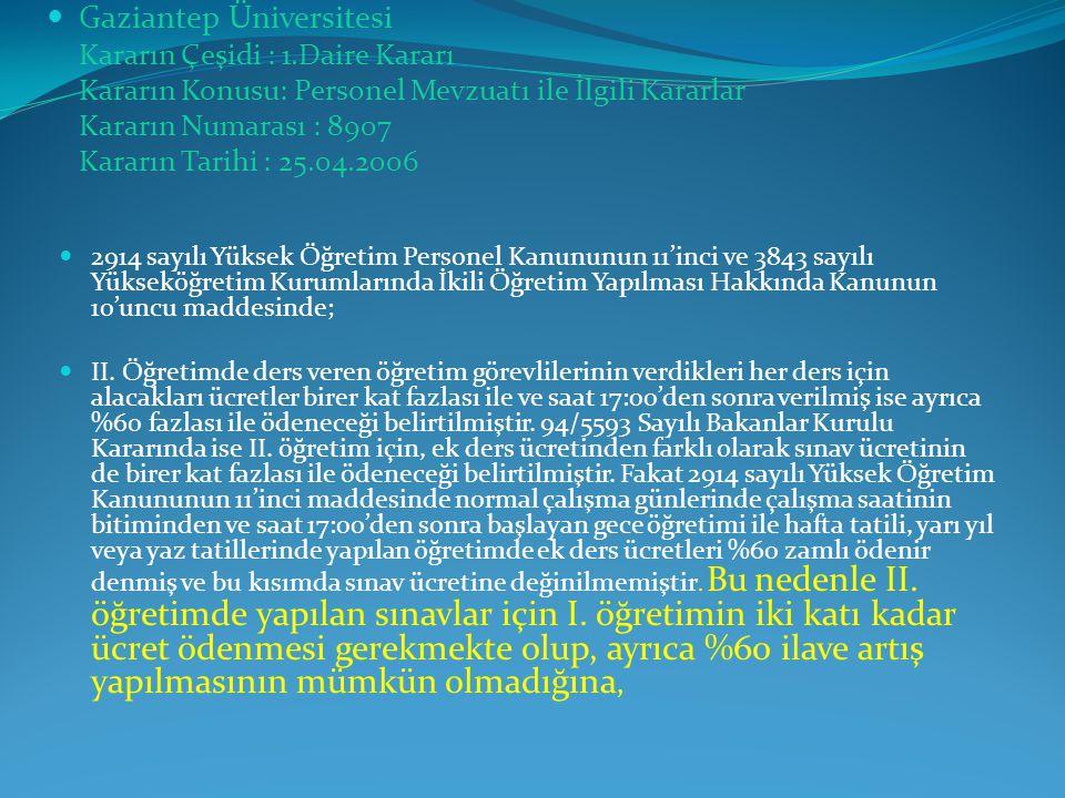 Gaziantep Üniversitesi Kararın Çeşidi : 1