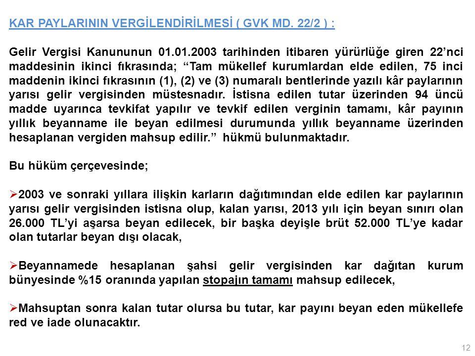 KAR PAYLARININ VERGİLENDİRİLMESİ ( GVK MD. 22/2 ) :
