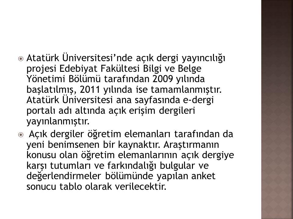 Atatürk Üniversitesi'nde açık dergi yayıncılığı projesi Edebiyat Fakültesi Bilgi ve Belge Yönetimi Bölümü tarafından 2009 yılında başlatılmış, 2011 yılında ise tamamlanmıştır. Atatürk Üniversitesi ana sayfasında e-dergi portalı adı altında açık erişim dergileri yayınlanmıştır.